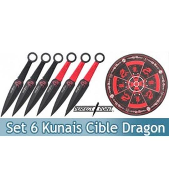 Set 6 Kunais + Cible Dragon