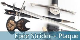 Aragorn Epée - Strider + Plaque + Fourreau + Couteau