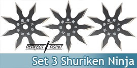 Set 3 Shurikens Ninja Etoile Perfect Point 90-21BK
