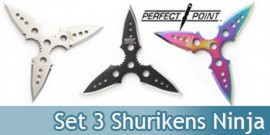 Set 3 Shuriken Perfect Point Etoile Ninja 90-33-3