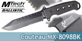 Poignard de Survie MX-8098BK Xtreme Ballistic