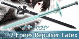 Sword Art Online Epée Kirito Repulser et Elucidator Latex Mousse