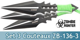 Set 3 Couteaux de Lancer Zombie Hunter ZB-136-3