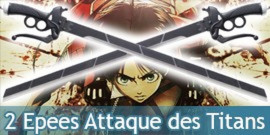 2X Epees Attaque des Titans Epee Mousse Latex Eren Jager