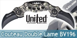 Couteau Double Lame Karambit BV196 Black Legion