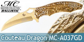 Couteau Pliant Karambit Gold Dragon Masters Collection