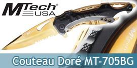 Couteau Pliant Tactique Doré Mtech USA MT-705BG