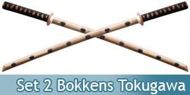 2X Bokkens Epees en Bois Entrainement Tokugawa Ieyasu