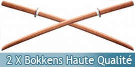 2X Bokkens Haute Qualité Epee en Bois Entrainement