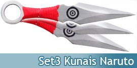 Kunais X3 Red Ninja Naruto