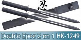 Double Epee Ninja 2 en 1 Ninjato Sabre HK-1249