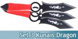 Set 3 Couteaux Dragon Kunais a Lancer Ninja