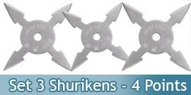 Set 3 Shuriken Etoile de Lancer 4 points Ninja