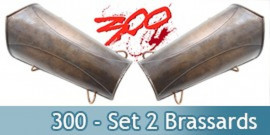 300 - Spartiate Set 2 Brassards Garde Bras Acier