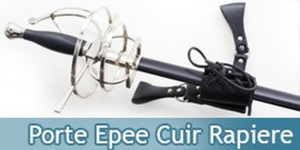 Porte Epee Cuir Rapiere Support