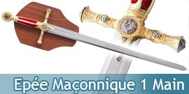 Epée Maçonnique 1 Main Franc Maçon - Rouge