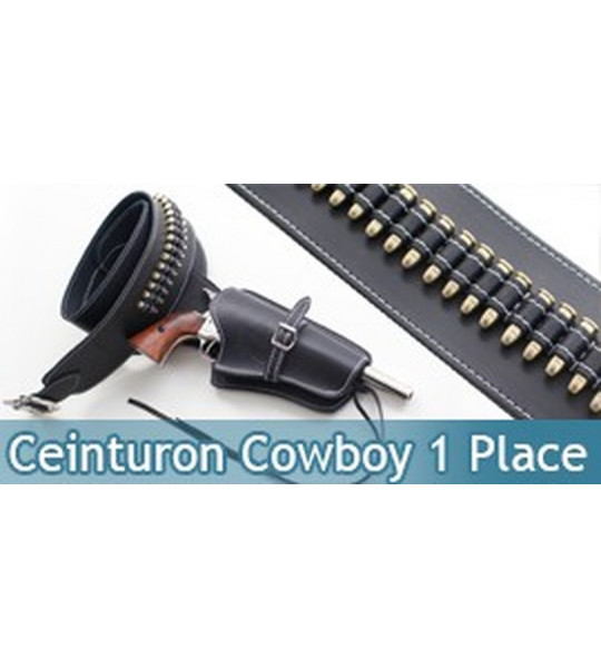 Ceinturon Noir Cowboy Porte Pistolet avec Balles 1 Place