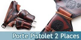 Western Holster Cowboy Porte Pistolet Ceinture 2 Places