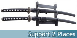Support Bois 2 places Katanas Presentoir Mural ou a Poser