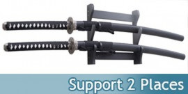 Support en Bois 2 places Katanas Presentoir Mural