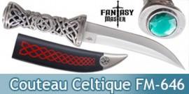 Couteau Celtique Poignard Celte Emeraude FM-646
