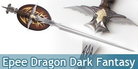 Epee Medievale Dragon Dark Fantasy HK-26078