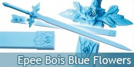 Epee tout en Bois Lame en Bois Blue Flowers JS989WD
