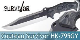 Couteau de Chasse Survivor HK-795GY Chasseur Poignard