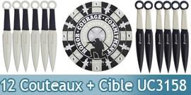Set 12 Couteaux de Lancer + Cible USMC UC3158