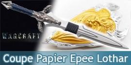 Warcraft Coupe Papier Epee Lothar avec Support et Bouclier