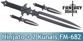 Ninjato Double Lame Epee + 2 Kunais Ninja FM-682