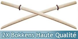 2X Bokkens Blanc Haute Qualité Epee en Bois Entrainement