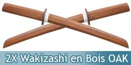 Lot de 2 Wakizashis Bokken Epee en Bois OAK 1803-NX2
