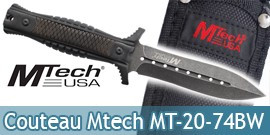 Couteau Black Mtech Dague MT-20-74BW Poignard