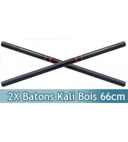 2x Batons Kali en Bois Entrainement 66cm 1805-BX2