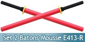 2X Batons Bokken Mousse Red E413-RX2 Entrainement