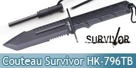 Couteau de Chasse Survivor Poignard HK-796TB Black Edition