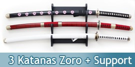 Lot 3 Katanas Tout en Bois One Piece Epees + Support 3 Places