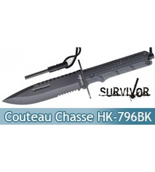 Couteau de Chasse Survivor Poignard HK-796BK Black