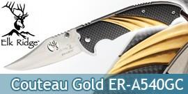Couteau Pliant Gold Carbone Chasseur Elk Ridge ER-A540GC