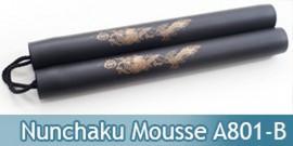 Nunchaku Dragon Mousse Noir Entrainement Arts Martiaux