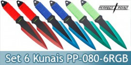 Set de 6 Couteau de Lancer Kunais Perfect Point PP-080-6RGB