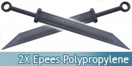 Lot 2 Epees Polypropylene Sabre Entrainement E476-PPX2