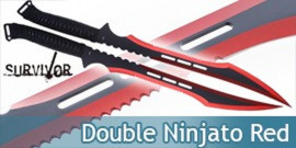 Double Ninjato Survivor Epee Red Sabre HK-741RD