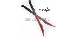 Double Ninjato Survivor Epee Red Sabre HK-741RD