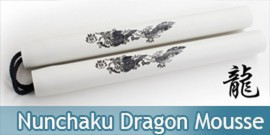 Nunchaku Dragon Mousse Blanc Arts Martiaux