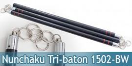 Nunchaku Tri-baton Tout en Bois Noir 1502-BW