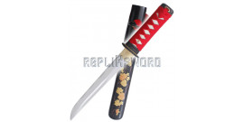 Tanto Red Flowers Lame Maru DB-T07