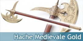 Hache Medievale Chevalier Gold HMED2