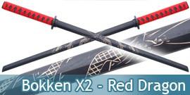 2X Bokkens Epee en Bois Entrainement Dragon 1807DRX2
